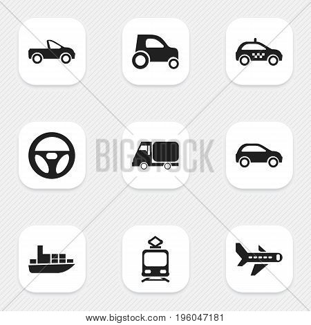 Set Of 9 Editable Shipment Icons. Includes Symbols Such As Drive Control, Ship, Cab And More
