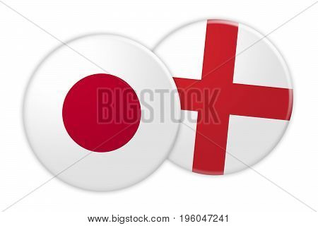 News Concept: Japan Flag Button On England Flag Button 3d illustration on white background