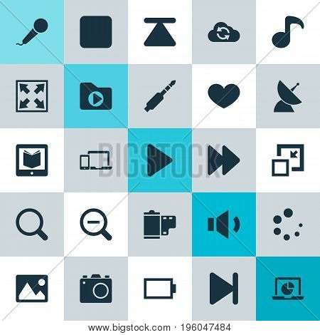 Multimedia Icons Set. Collection Of Pause, Cloud, Empty Accumulator And Other Elements