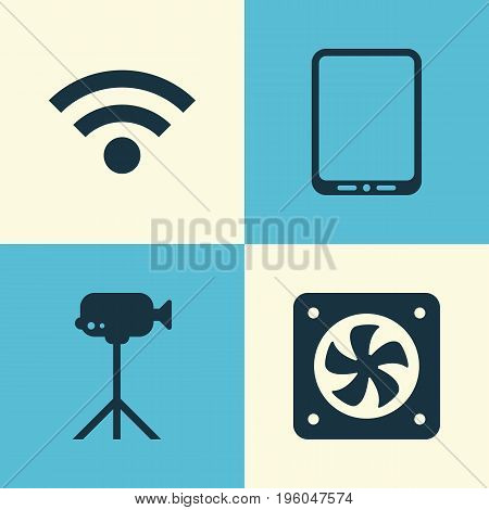 Hardware Icons Set. Collection Of Camcorder, Computer Ventilation, Cellphone And Other Elements