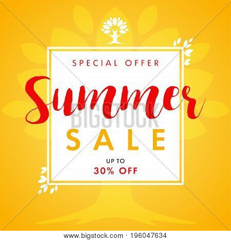 Summer Sale vector banner with text special offer and beautifal leaf border design. Summer SALE leaves and tree frame banner