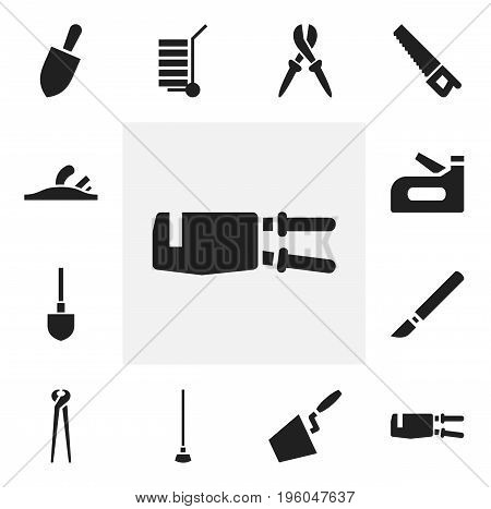 Set Of 12 Editable Instrument Icons. Includes Symbols Such As Plane, Equipment, Saw And More