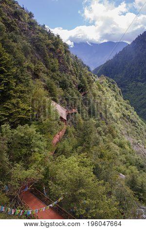 Mountain Climbing Trail Sunny Day Landscape In Shangri La, Yunnan Province, China