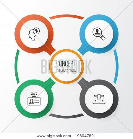 Corporate Icons Set. Collection Of Human Mind, Social Profile, Open Vacancy And Other Elements