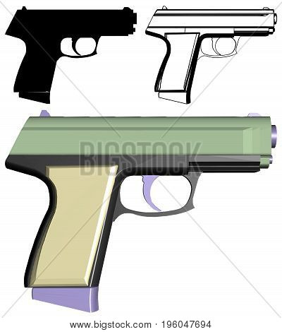 Automatic Handgun Semi Auto Pistol Illustration Isolated Vector