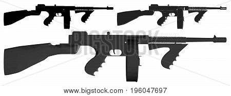 Gangster retro Machine Gun Illustration Isolated Vector