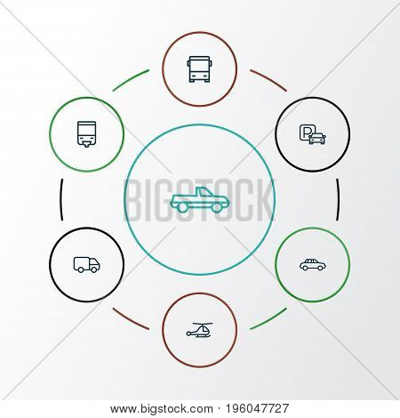 Transport Outline Icons Set. Collection Of Bus, Helicopter, Car And Other Elements