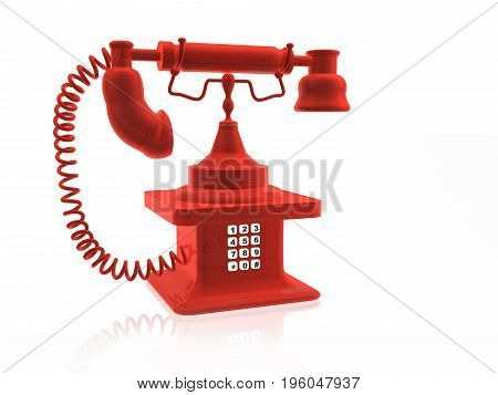 Retro phone with keyboard on white background 3D illustration.