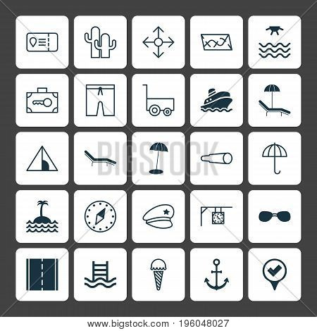 Tourism Icons Set. Collection Of Direction Arrows, Cacti, Relax Chair And Other Elements