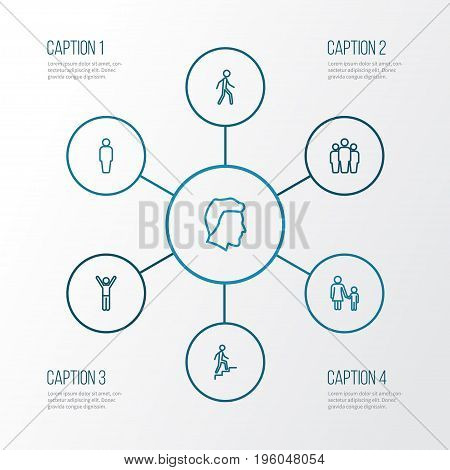 Person Outline Icons Set. Collection Of Mother, Jogging, Rejoicing And Other Elements