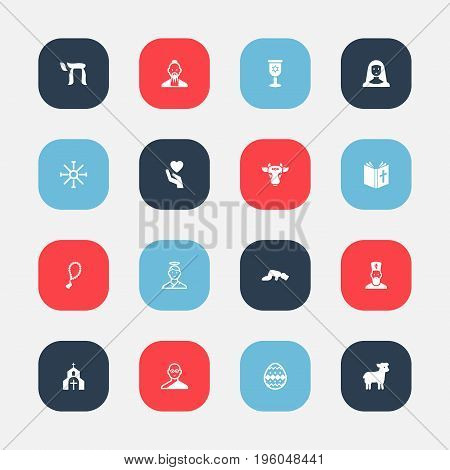 Set Of 16 Editable Faith Icons. Includes Symbols Such As Om Aum, Save Love, Ornamented Egg And More