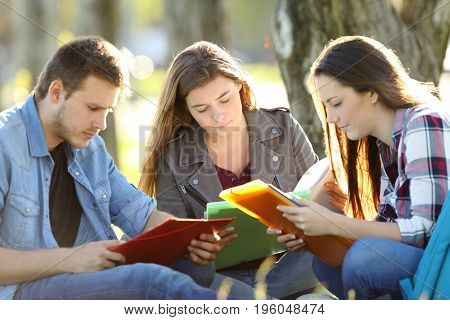 Three students studying memorizing notes sitting on the grass in a park with a warm light