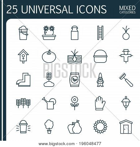 Farm Icons Set. Collection Of Lantern, Pear With Apple, Bloom And Other Elements