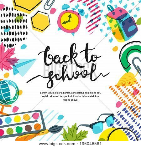 Vector Back To School Banner, Poster Background. Hand Drawn Calligraphy Lettering And Doodle Color S