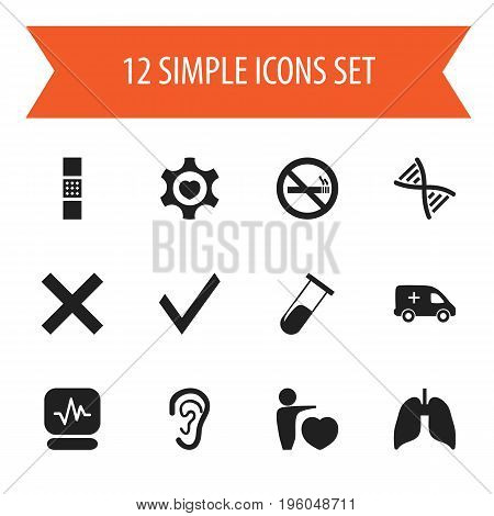 Set Of 12 Editable Care Icons. Includes Symbols Such As Pulse, Mark, Stop Smoke And More