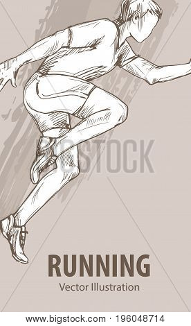 Hand sketch of a running man. Vector sport illustration. Graphic silhouette of the athlete on background design.
