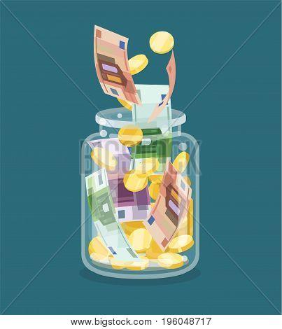 Saving flat money jar on blue background