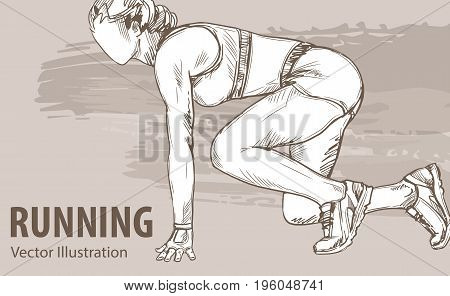 Hand sketch of a woman runner ready to start. Vector sport illustration. Graphic silhouette of the athlete on background design.