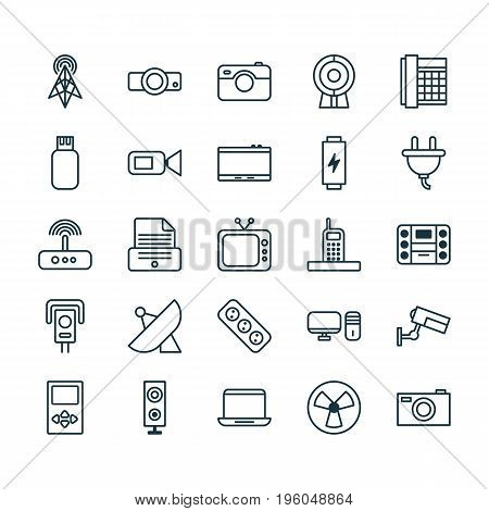 Icons Set. Collection Of Charge, Surveillance, Television And Other Elements