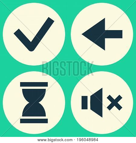 Interface Icons Set. Collection Of Done, Silence, Backward And Other Elements