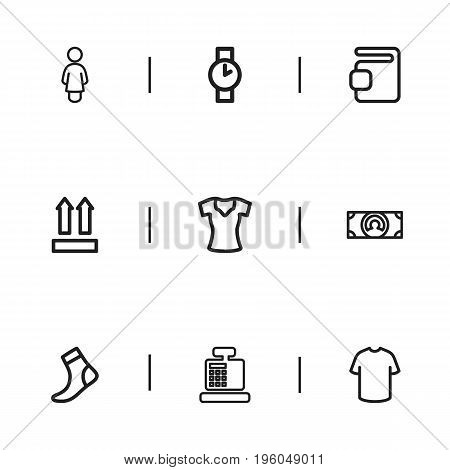 Set Of 9 Editable Trade Outline Icons. Includes Symbols Such As Woman T-Shirt, Till, Wallet And More