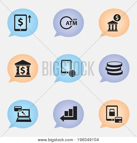 Set Of 9 Editable Banking Icons. Includes Symbols Such As Remuneration, Cash Growth, Network And More