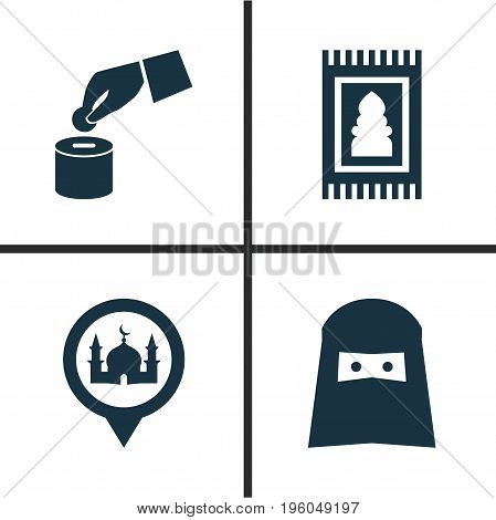 Ramadan Icons Set. Collection Of Prayer Carpet, Muslim, Beneficence And Other Elements