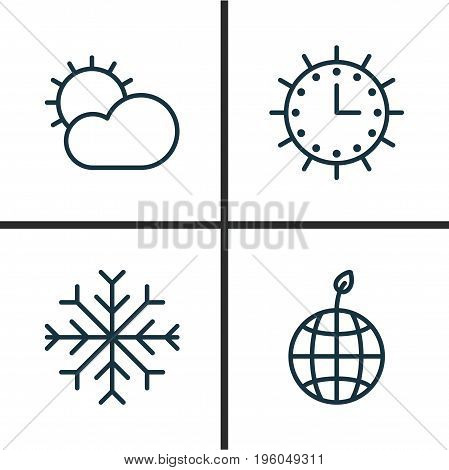 Ecology Icons Set. Collection Of Sun Clock, Snow, Clear Climate And Other Elements