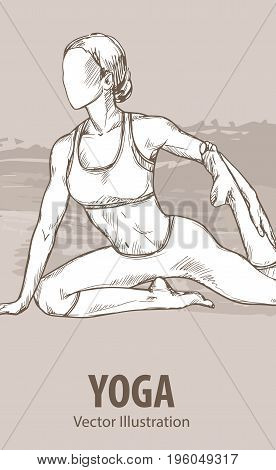 Hand sketch of a girl doing yoga. Vector sport illustration. Graphic silhouette of the athlete on background design.