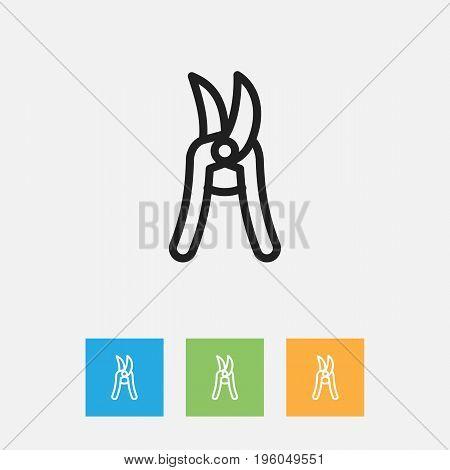 Vector Illustration Of Tools Symbol On Secateurs Outline