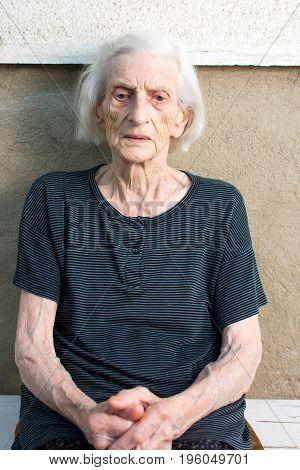 Portrait Of Ninety Years Old Grandma