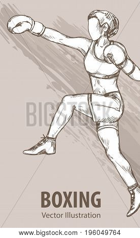 Hand sketch of a boxing women. Vector sport illustration. Graphic silhouette of the athlete on background design.