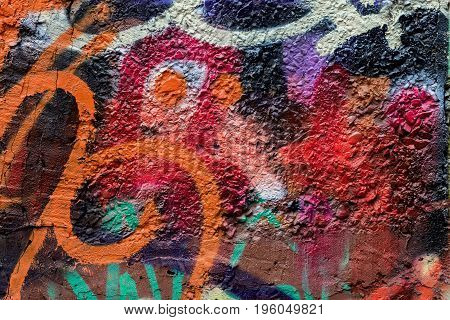 Abstract wall close-up. Detail of graffiti . Fragment for background, stylish pattern, fashion colors. Aerosol pictures