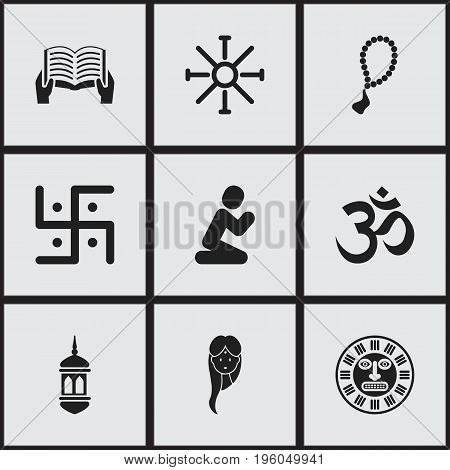 Set Of 9 Editable Religion Icons. Includes Symbols Such As Religious Sign, Tribal Mask, Rosary And More