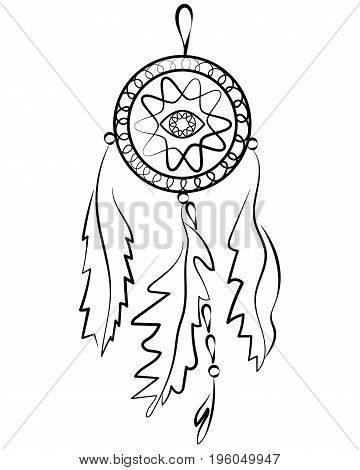 Dreamcatcher. Indian mascot with feathers and amulets from the evil eye. Vector, isolated on white. Ethnic design, boho chic, hipster. Element of design for clothing, interior decoration