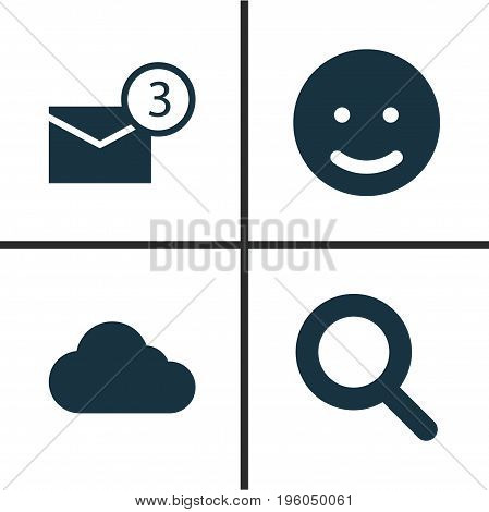 Media Icons Set. Collection Of Smile, Inbox, Overcast And Other Elements