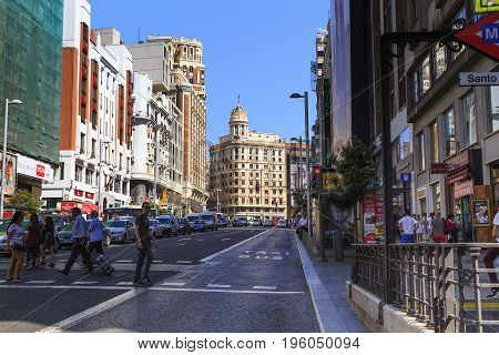 MADRID, SPAIN - MAY 24, 2017: Gran Via is unofficially considered the main street of the capital of Spain.