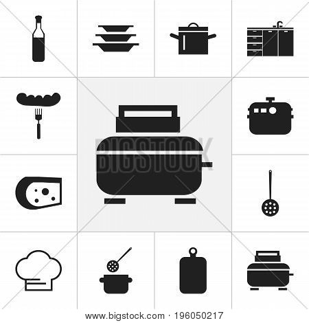 Set Of 12 Editable Kitchen Icons. Includes Symbols Such As Pan, Skimmer, Hot Dog And More