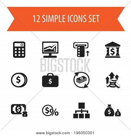 Set Of 12 Editable Finance Icons. Includes Symbols Such As Money-Guard, Building, Greenback And More