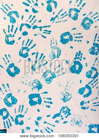 Vintage Background, Prints Blue Paint From Fingers Of Hands On Wall