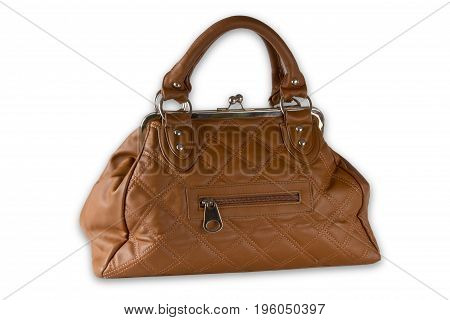 Beautiful Brown Handbag isolated on white background