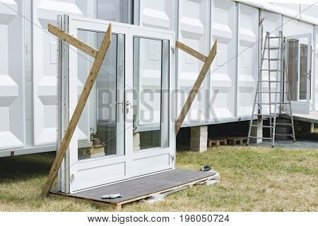 Element from glass door used by exhibition tent