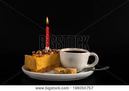 Aromatic Black Coffee In White Cup With Cheesecake On White Saucer, Birthday Candle, Brown Sugar, Te