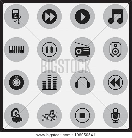 Set Of 16 Editable Song Icons. Includes Symbols Such As Equalizer, Phonograph, Begin And More