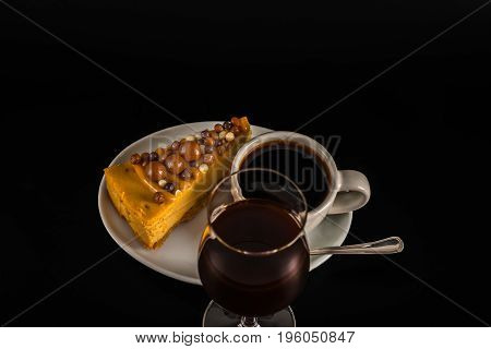 Aromatic Black Coffee In White Cup With Cheesecake On White Saucer, Coffee Liqueur, Brown Sugar, Tea