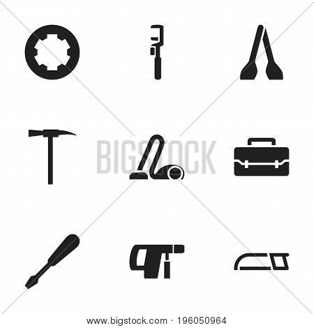 Set Of 9 Editable Tools Icons. Includes Symbols Such As Turn-Screw, Screw Head, Toolbox And More