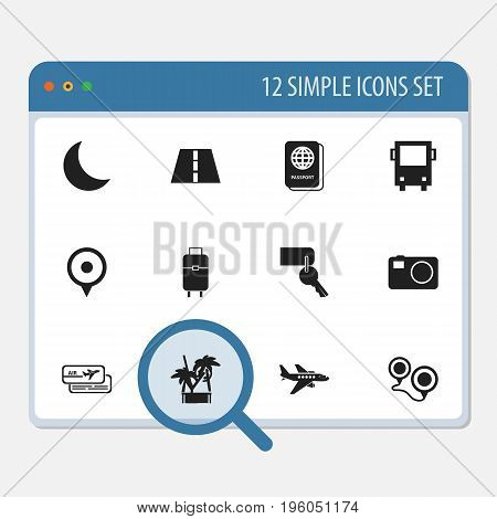 Set Of 12 Editable Journey Icons. Includes Symbols Such As Passport, Entrance, Location And More