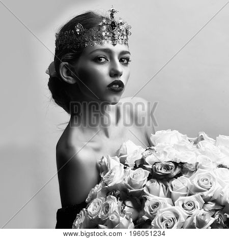 Fashion Model With Luxury Crownprincess Woman With Luxury Crown
