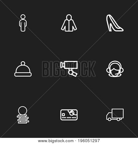 Set Of 9 Editable Shopping Outline Icons. Includes Symbols Such As Cardigan, Person, Pompom And More