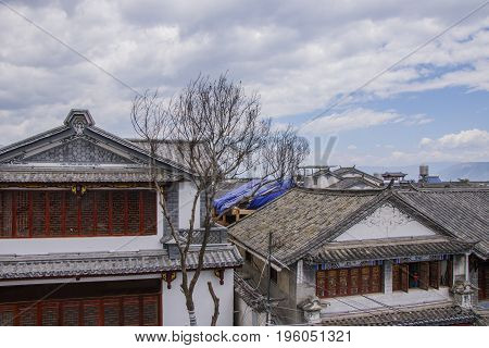 Ancient Chinese Architecture House Building In Dali Old Town, Yunnan Province, China